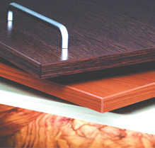 Laminated wood and particle board kitchen cabinet components
